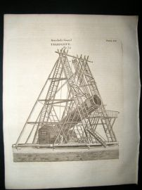 Astronomy C1790 Antique Print. Herschel's Grand Telescope 505